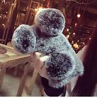 Luxury Cute Warm Fluffy Plush Ball Panda Rabbit Fur Hair Cell Phone Case Cover