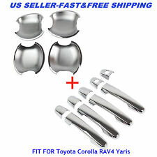 Car Chrome Guard Door Handle Cover + Bowls For Toyota Corolla RAV4 Yaris Keyhole