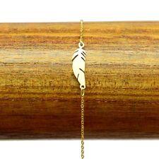 Bracelet Acier inox 316L Plume ciselé chaine fine Charm Réglable BRA004-Doré