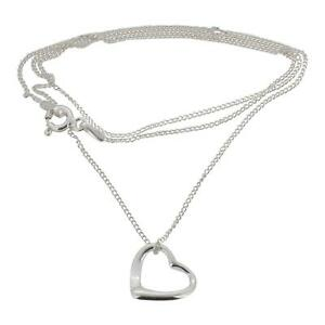 Sterling Silver Open Heart Pendant and Chain by Touch Jewellery  925 Necklace
