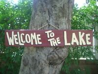 WELCOME TO THE LAKE COUNTRY WOOD RUSTIC PRIMITIVE SHABBY CHIC SIGN PLAQUE
