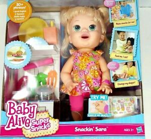 Baby Alive Snackin' Sara Interactive Blonde New and Sealed