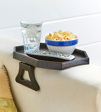 Small Snack Tray Table Black Chair Sofa Armrest Clips Holds TV Remote Drink