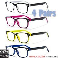 4 Pairs Men Women Spring Hinge Rectangular Reading Reader Power Lens Glasses 1-3