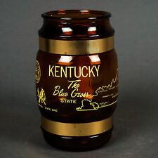 Vintage Kentucky The Blue Grass State Amber Glass Wood Handle Beer Mug