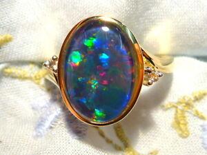 Opal Ring Ladies 14ct Yellow Gold & Diamond 13 x 9mm Oval Shape Triplet. #90568