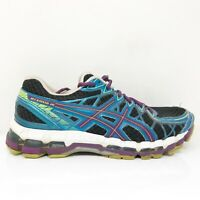 Asics Womens Gel Kayano 20 T3N8N Black Blue Running Shoes Lace Up Size 9 D
