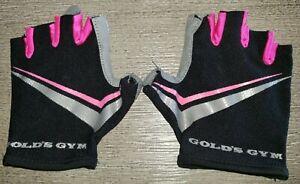 GOLDS GYM womens EXERCISE WEAR BLACK HOT PINK GLOVES size medium/large @@