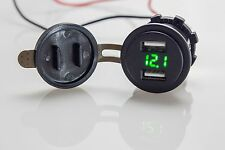 4.2A Dual USB Charger Socket Voltage Voltmeter Motorcycle Boat green for car