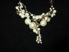 Statement Necklace Black White Faux Pearl Cluster Gold Tone Rhinestone Crystal