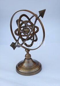 Vintage Nautical Solid Brass Armillary Sphere World Globe Home Decor Collectible