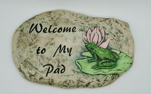 """Vintage 'Welcome to My Pad"""" Frog Lily Pad Ceramic Hobbyist Wall Plaque '01'"""
