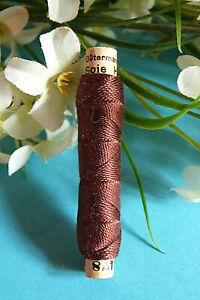 """1281B / Superb Coil Drawstring Silk Gutermann Halma """" Brown """" N° 478"""