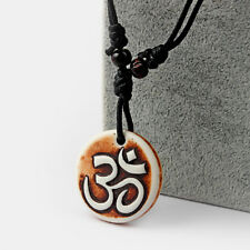 1Pcs Brown Yak Bone Tribal Style OM AUM OHM Yoga Charms Necklace Adjustable
