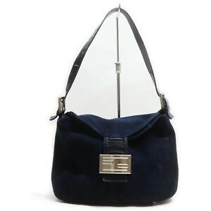 Fendi Hand Bag Mamma Bucket Navy Blue Suede Leather 840331