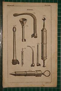 1764 Antik Aufdruck ~ Spritzen Verschiedene Chirurgische Instrumente