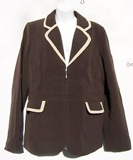 QVC Dialogue Double Face Brown Twinstretch Pink Trim Regular Jacket Size 12 NWT