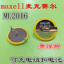 1PCS Maxell ML2016 Rechargeable 3V Battery w/ tab #T6350 YS