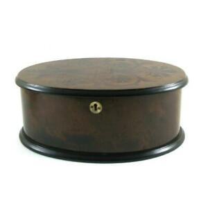 Antique Victorian Wooden Oval Shape Jewellery Trinket Box Tray Marquetry Design