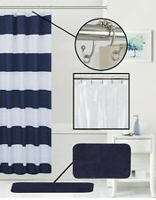 Your Zone Navy Cabana Stripe Microfiber Shower Curtain Bundle w/Liner-Rings-Rug
