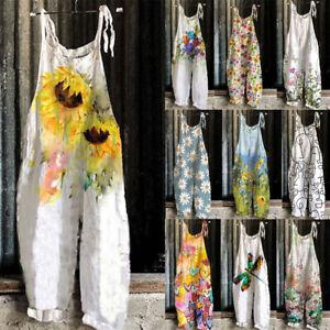 Ladies Boho Floral Baggy Dungaree Jumpsuit Print Retro Overalls Romper Playsuit