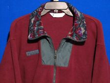 Men's Columbia Polar Fleece Zip Front Two Pocket Jacket Burgundy Size Medium