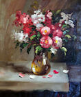 Flower Arrangement Still Life Roses Classic Stretched 20X24 Oil Painting By Hand