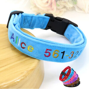Personalized Embroidered Dog Collar Pet Cat Puppy NAME and Phone Custom Collar