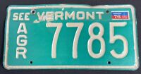 """Vtg """"SEE VERMONT"""" Agriculture 1976 License Plate Green Mountain State Tag """"7785"""""""