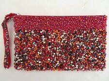 vtg red beaded Clutch zip pouch wristlet Evening bag
