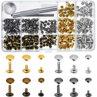 180 Set Leather Rivets Single Cap Rivet Tubular Metal Studs With Fixing Tool Set