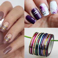 30Pcs 0.5mm Mixed Colors Rolls Nail Art Striping Tape Line Tips Guides Manicure