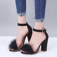 Women's Faux Fur Fluffy Sandals High Block Heel Autumn Party Cocktail Shoes HOT