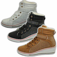 WOMENS WEDGE HEEL FAUX LEATHER FUR LINED HI TOP LADIES BOOTS GIRLS ANKLE TRAINER