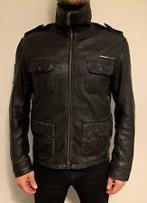 Superdry Leather Biker Jacket Black Medium Mens Motorcycle Vintage Military Coat