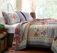GENEVA Full Queen QUILT SET : BOHO RED BLUE FLORAL COTTAGE GREENLAND BEDDING