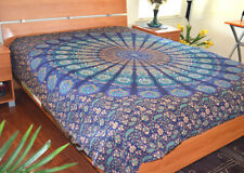 Cotton Blue Turquoise Color Block Print Floral Paisley Flat Bed Sheet from India