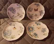 Lenox Butterfly Meadow Blue Dessert Plates Set of 4 NEW w/tag Different Flowers