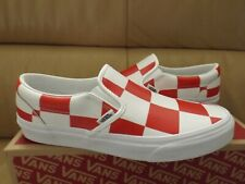 Vans Classic Slip-On Leather Check Women's Size 8.5 Shoes True White/ Red (NEW)