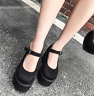 Womens Retro Gothic Punk Round Toe Suede Mary Janes High Platform Heels Shoe A15