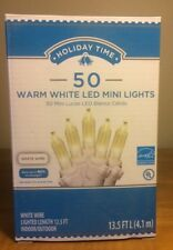 Holiday Time 50 Warm White LED Mini Lights-Christmas-Wedding-NEW-White Wire