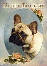 French Bulldog Dog Design A6 Textured Birthday Card BDFRENCHIE-1 by paws2print
