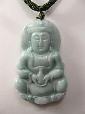 """Fatto a mano nodo filo regolabile giada """"Kuan Yin"""" ciondolo di buddha/collana"""