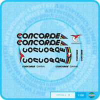 Concorde Gavina Bicycle Decals - Transfers - Stickers - Set 7 - Black Text