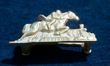 Vintage Brass Letter Rack Race Horses Equestrian Hunting
