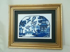 China Blue Willow Water Garden Scene Cross Stitch Framed Picture no glass