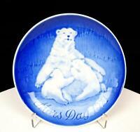 "BING & GRONDAHL B&G DENMARK MORS DAG POLAR BEARS 6"" MOTHERS DAY WALL PLATE 1970"
