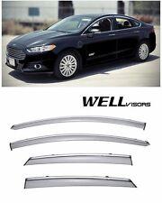 For 13-UP Ford Fusion Sedan WellVisors Side Window Visors W/ Chrome Trim