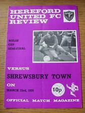 23/03/1976 Taza de Gales semi-final: Hereford unida V Shrewsbury Town (plegado, Pluma