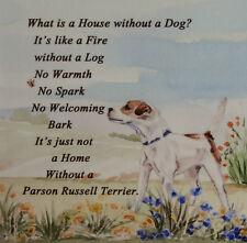 PARSON RUSSELL TERRIER DOG HARDBOARD PLAQUE TILE WATERCOLOUR PRINT SANDRA COEN